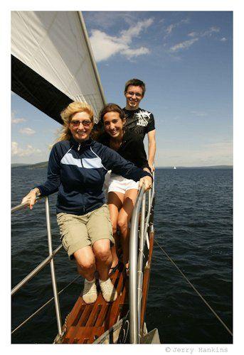 "Family on the ""Amoeba"" sailboat in Baddeck, Cape Breton, Nova Scotia (Canada).  Photo by Jerry Hankins"