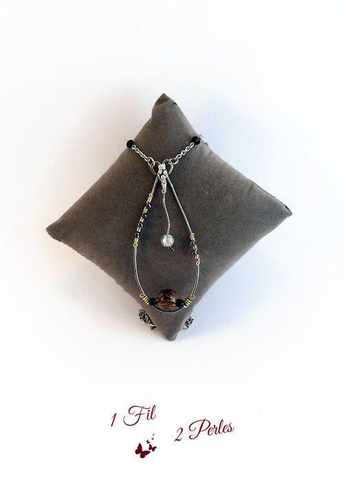 Collier Pendentif Goutte Perle Végétale Acai Jaspee Naturelle - Wire Wrapping - Graine Acai du Brésil - Ivoire Végétal : Collier par 1-fil-2-perles
