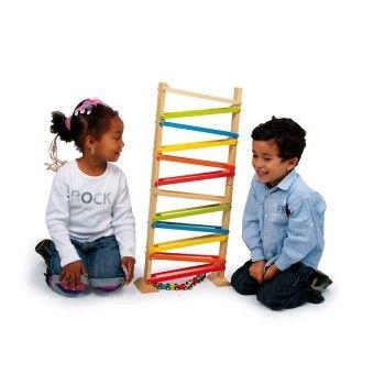 MOTR151.02.Juguete de madera para niños para jugar con los trenes y hacerlos bajar por los distintos niveles