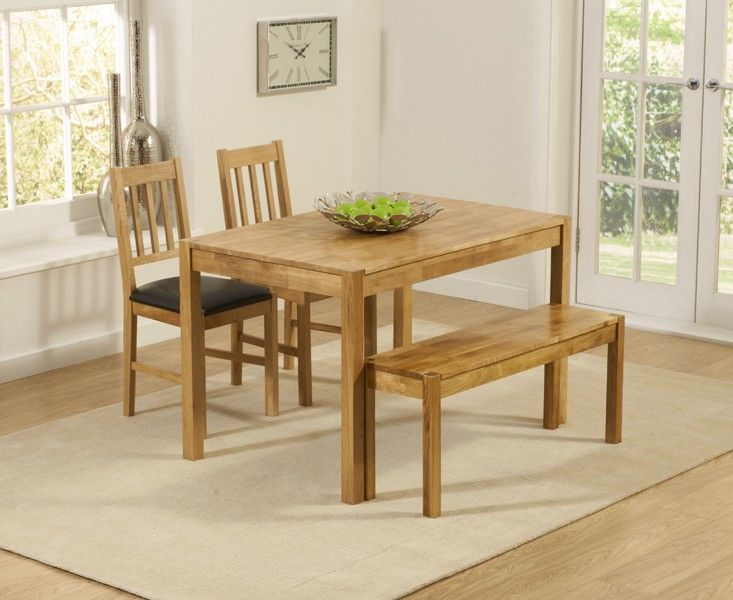 The Table Is Complemented By Oxford Solid Oak Bench And Albany Faux Leather Dining Chairs