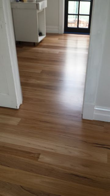 This Little Yellow House. Blackbutt floors after Sanding and Bona Traffic matte finish.
