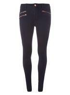 Womens Indigo Rose Gold Zip Bailey Super Skinny Stretch Jeans- Blue