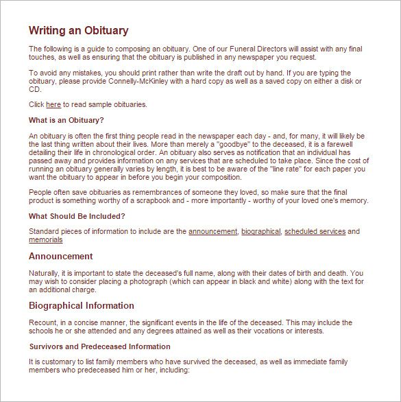 How To Write An Obituary For Mother Obituaries Template