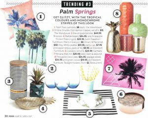Food Magazine | April 2017 | Trending: Palm Springs  Get glitzy with the tropical colours and monochrome stripes of this look.