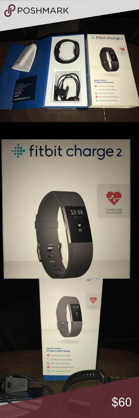 Fitbit Charge 2 Like New Fitbit Charge 2 size large with original box , black band and charger. Great activity, multi-sport tracker with smart phone notifications. Works with Apple and Android products. Fitbit Accessories Watches