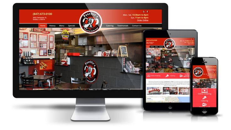 A racing red header design matching the Poochie's logo was partnered with high resolution images taken at the restaurant's Skokie, IL location. Impeccable food photography highlighting the tasty menu items offered has been presented in large format in a custom javascript slideshow. Large, user-friendly navigation buttons make it drive user actions.  Contact us today and visit www.web312.com or call 312-348-7244!