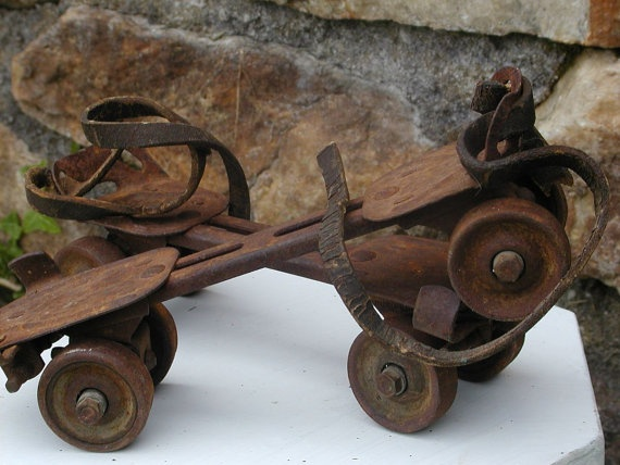 Vintage Skates Good And Rusty Toys Barn Find by Idugitup on Etsy, $21.00