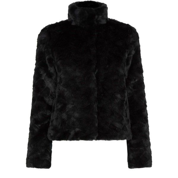 Oasis Short Fur Coat (795 DKK) ❤ liked on Polyvore featuring outerwear, coats, black, women, fur coat, short coat, sequin coat, oasis coat and black coat