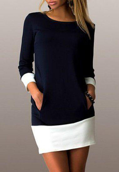 Mini vestido ocasional del bloque del color con cuello redondo de manga larga…