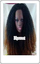 Front lace  wig perruque cheveux semi-synthétiques 1BT30