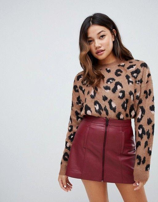 1b16f52363d Bershka brushed leopard print sweater in 2019