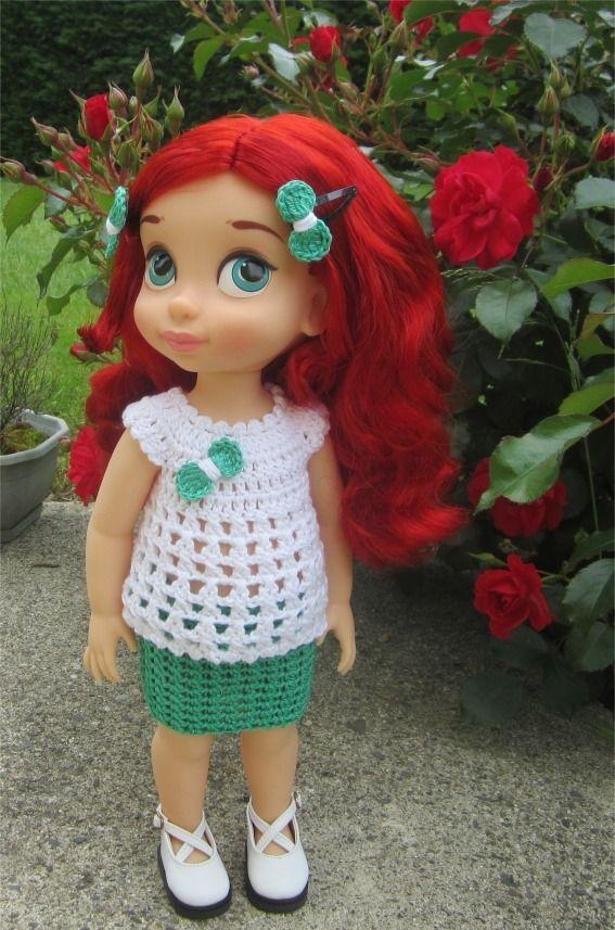 31- FICHE PATRON Arielle pour poupée Animator de 38 cm : Jeux, jouets par atelier-crochet