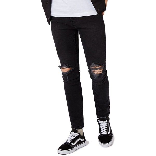 Men's Topman Ripped Skinny Fit Jeans ($85) ❤ liked on Polyvore featuring men's fashion, men's clothing, men's jeans, black, mens torn jeans, mens jeans, mens skinny jeans, mens ripped jeans and mens destroyed jeans