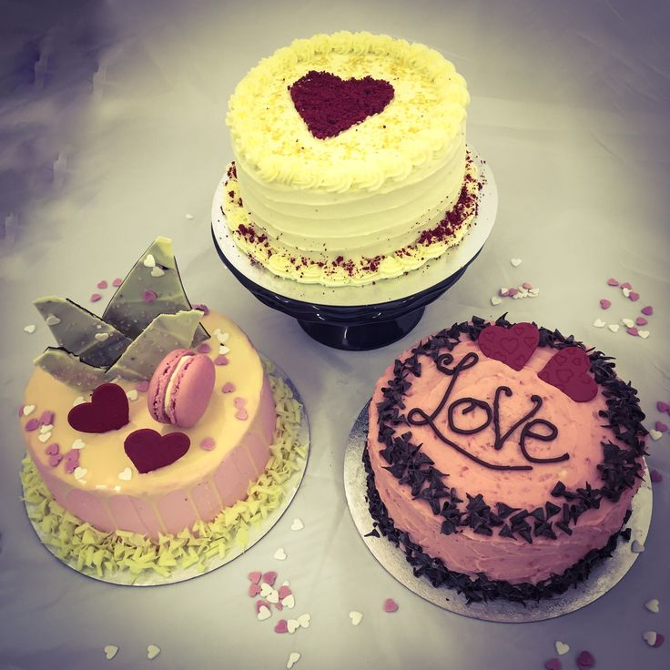 Our choice of Valentine cakes - red velvet, raspberry and chocolate & vanilla. www.kellylou.com