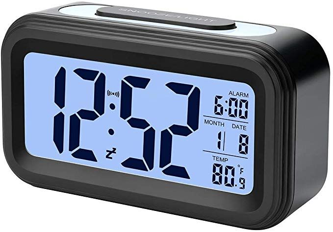 Alarm Clock Electronic Digital Morning Clock With Large Lcd Backlight Calendar And Temperature Black Review With Images Alarm Clock Alarm Clock