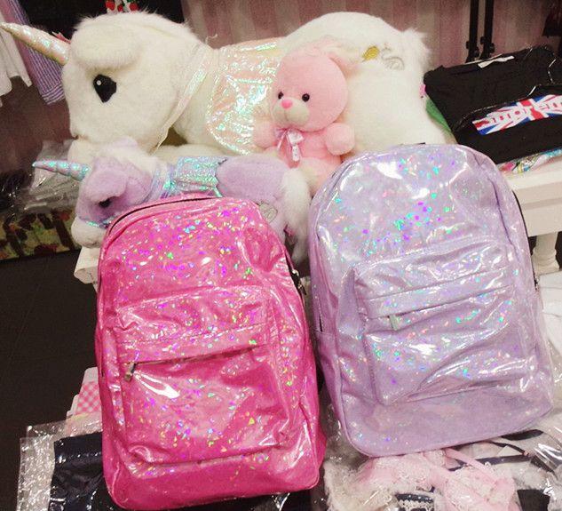 [Free shipping] Japan Harajuku zipper soft candy pink girl spank shining bright side shoulder bag - Taobao