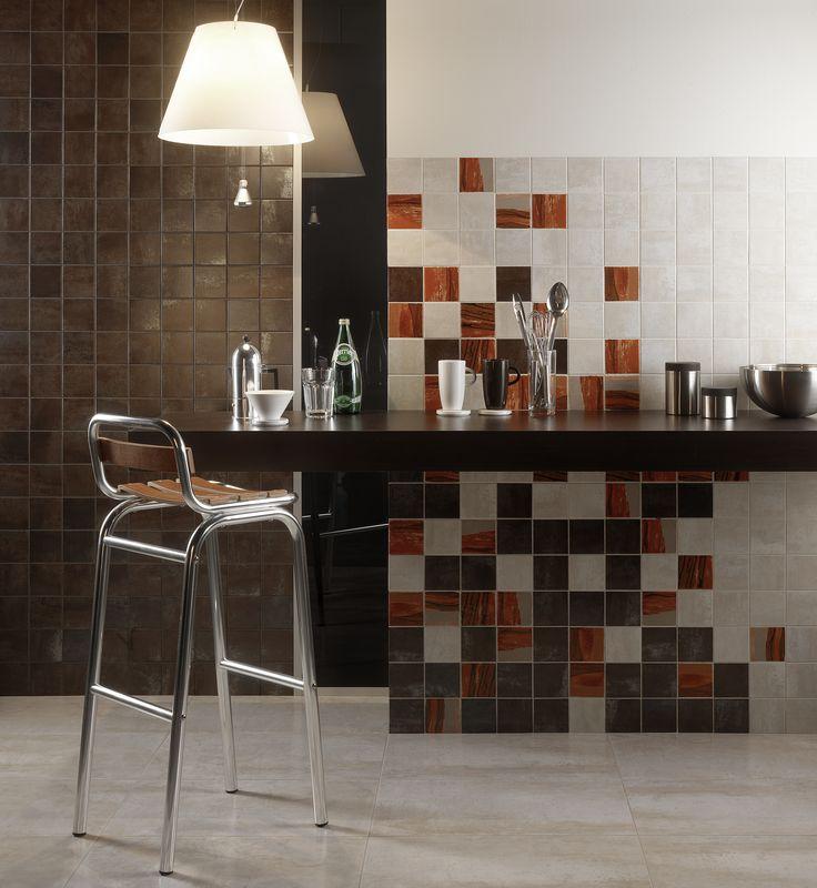 Коллекция Antares, фабрика Imola Ceramica. Барный стул. Коричневая столешница. Керамогранит 10 на 10. Кухонный фартук.