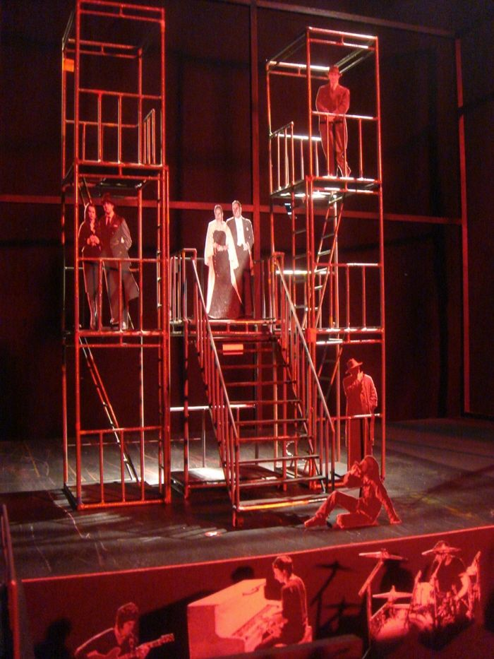 Evita. West Side Story. American Idiot. Multi-level sets with ladders are always so cool. (Set Design: Evita by Naomi Kasahara)