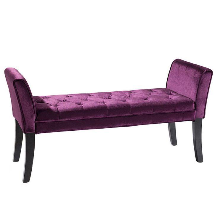 Armen Living Adelita Velvet Bench, Purple