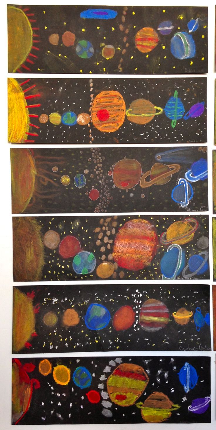 Solar system art with pastels on black paper.