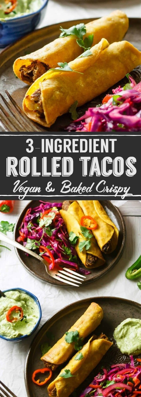 Three ingredients and basic kitchen skills are all you need to bake Easy Vegan Rolled Tacos to golden, crisp perfection. I add a simple salad for an easy, healthy dinner!