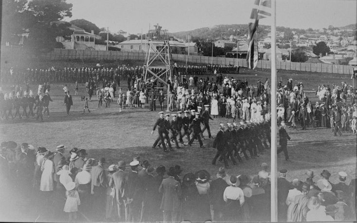 088645PD: Fire brigades march on the Albany Recreation Reserve for the 15th Annual Demonstration of the Western Australian Volunteer Fire Brigades Association, 4 April 1915 https://encore.slwa.wa.gov.au/iii/encore/record/C__Rb3973008