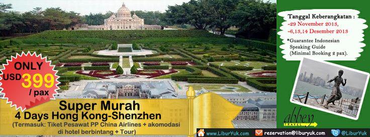 Yuk nikmati liburan 4 Hari Hong Kong-#Shenzhen Super Murah by #China #Airlines sekarang juga.Buruan bookng sekarang juga sebelum kehabisan, Harga sudah termasuk Tiket Pesawat PP China Airlines + akomodasi di hotel berbintang + Tour.  Dapatkan Special Paket tersebut dari LiburYuk.com di http://liburyuk.com/groupseries/book/45812802/4-Days-Hong-Kong-Shenzhen-by-China-Airlines---Super-Murah #jalan2 #holiday #abbeytravel #hongkong