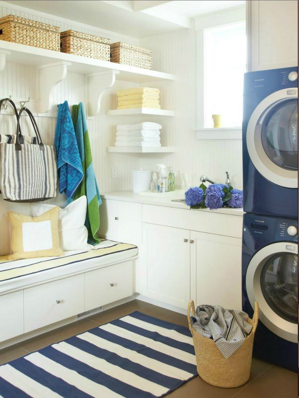 white and blue laundry/mudroom