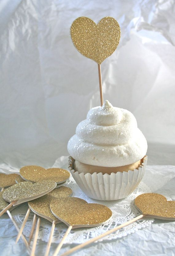 Glittered GOLD Heart Cupcake Toppers Food Picks by SwoonPartyShop