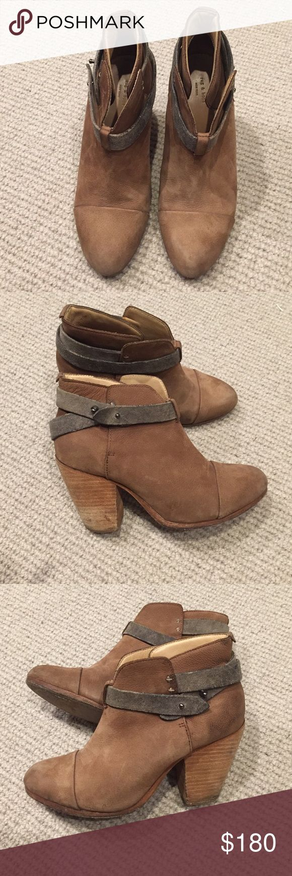 Rag & Bone Harrow tan leather boots sz 8 Europe 38 Soft Tan leather rag & bone Harrow booties with grey leather straps. Super comfy boots. Minimal wear and a few scuffs on the heel. rag & bone Shoes Ankle Boots & Booties