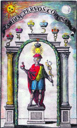 Jano hermético-alquímico grabado coloreado - Barón Urbigerous, 1705