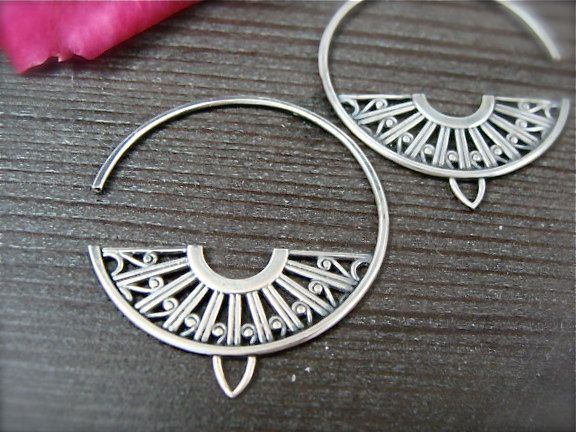 Deco hoops ... sterling silver earrings