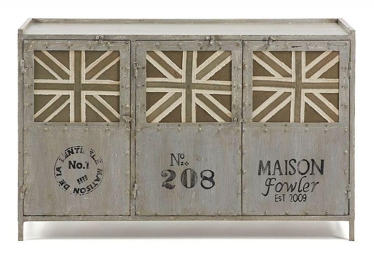 Ador Vintage Phoebe   Material: Metal   Mueble realizado con estructura de metal en acabado gris envejecido, puertas con tapizado de canvas diseno Union Jack... Eur:529 / $703.57