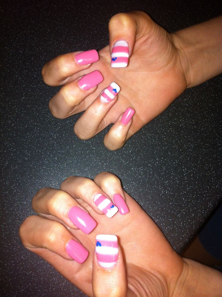 Striped pink&white :) blue love heart :)