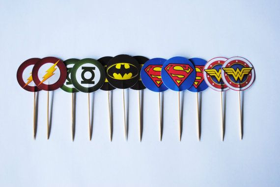 Justice League Superhero Cupcake Toppers x12 by ChocRain on Etsy, $6.50 Awesome cupcake toppers!!