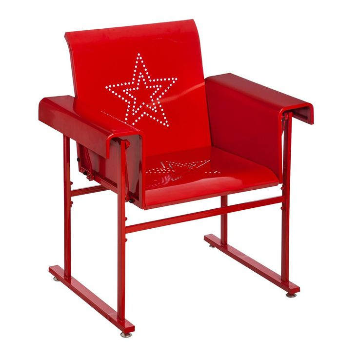 Cape Craftsmen Retro Red Metal Outdoor Safe Glider Chair. Rock away on your patio or porch with this Glider Chair. Powder-coated iron construction. Chair glides easily back and forth in Rocking motion.