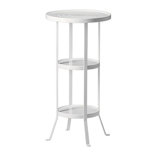 IKEA - GUNNERN, Pedestal table, white, , The raised edge around the table top keeps things from sliding off.