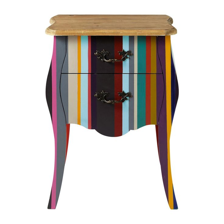 Paulownia wood stripe bedside table, multicoloured W 45cm Neon