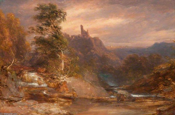 Coucher de soleil sur la rivière Divie, Dunphail de James William Giles (1801-1870, United Kingdom)