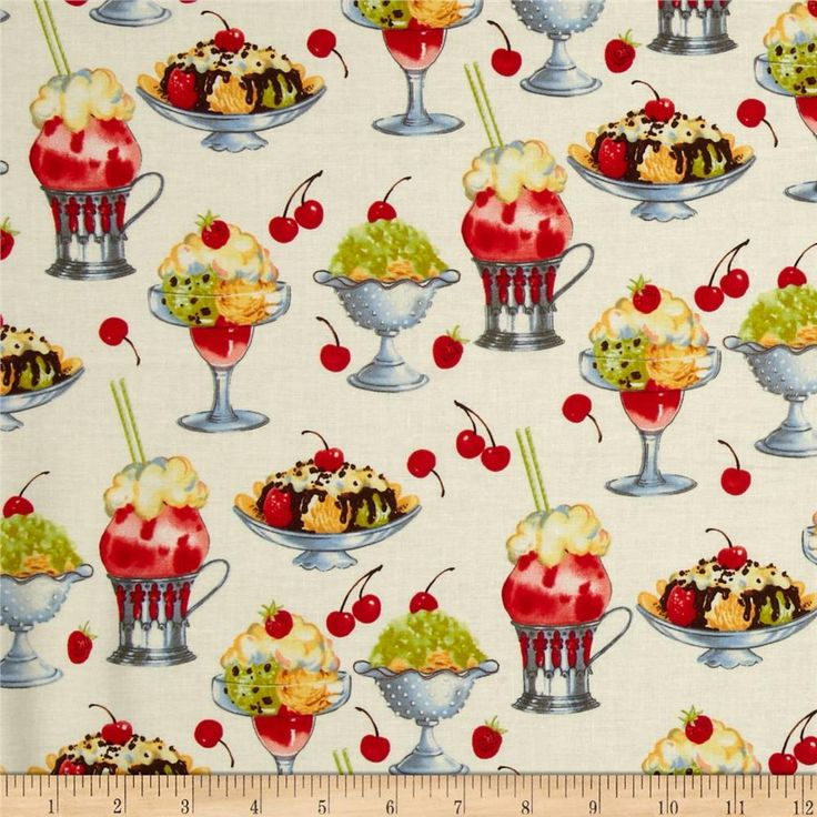 Michael Miller Sundaes Cream from @fabricdotcom  Designed for Michael Miller, this cotton print fabric is perfect for quilting, apparel and home decor accents. Colors include red, cream, green, brown, orange and grey.