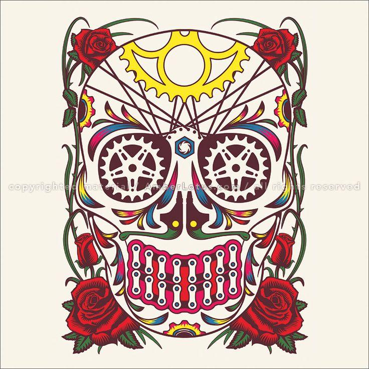 Day of the Dead 2018 Wall Calendar: Sugar Skulls. Día de la Bicicleta © Dan Stuckey.