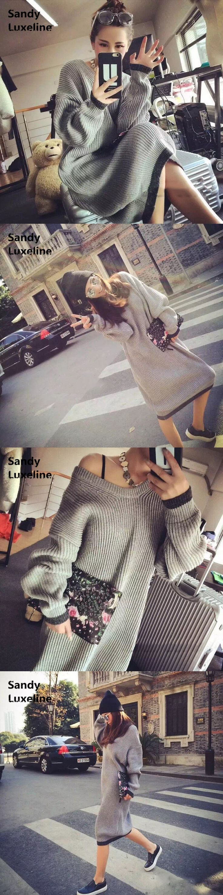 2016 New Sexy Women Sweater Long Autumn Dress Pattern Knitted Tops Casual Winter Pullover Oversized Sweater Women Sweaters 065