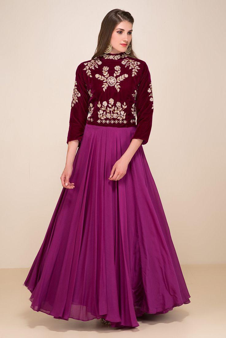 ZAYAH Wine Floral Embroidered Gown #flyrobe #wedding #weddingoutfit #flyrobeweddings #receptionoutfits #designerwear #designergown #receptiongown
