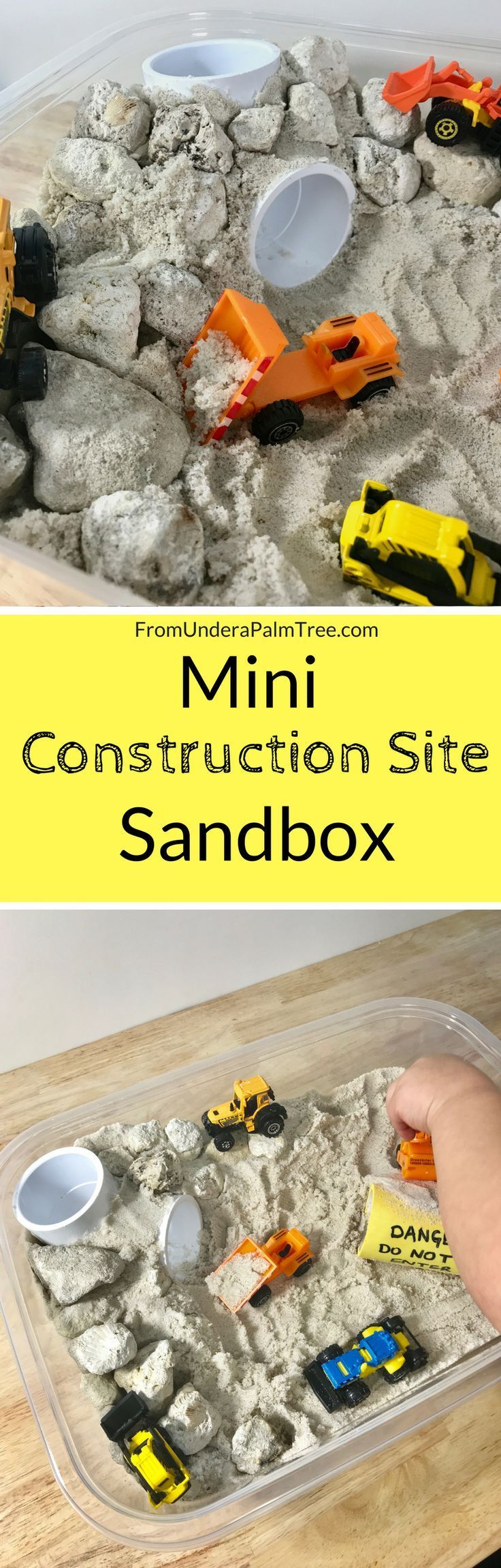 build mini construction site | sensory play | sensory activities | learning activities for toddlers | sensory play for toddlers | DIY | sandbox | mini sandbox | toddler activities | kids activities | activities for toddlers | activities for a 2 year old | indoor toddler play | DIY kids activity | sand | matchbox cars | matchbox tractors | mini construction site play |
