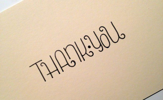 Thank You card lettering
