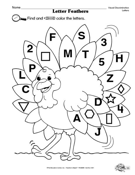 find and color the letters (Thanksgiving) Language arts