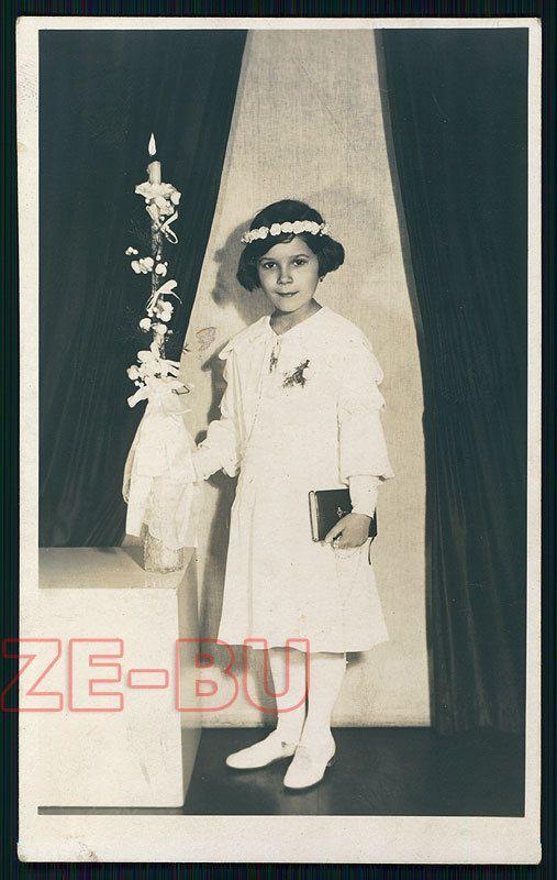 старинное фото красивая девочка в белом платье первое причастие 1930-х годов | eBay