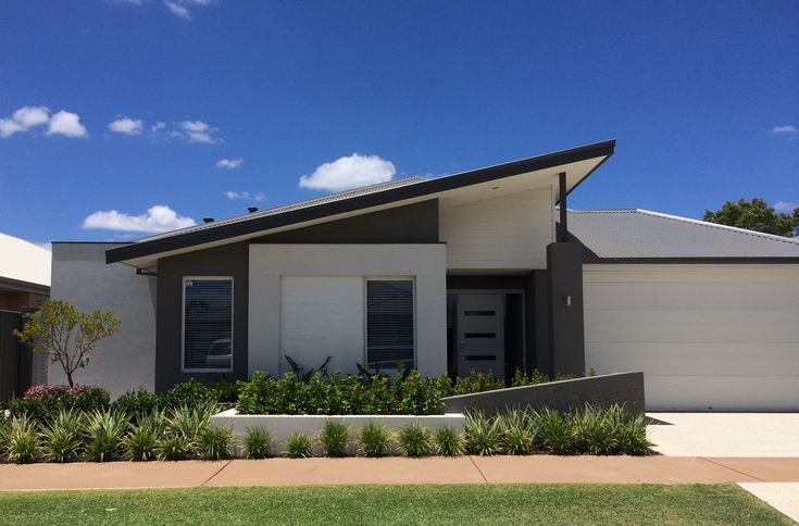 A striking skillion roof design in a metal deck material for Skillion roof house plans
