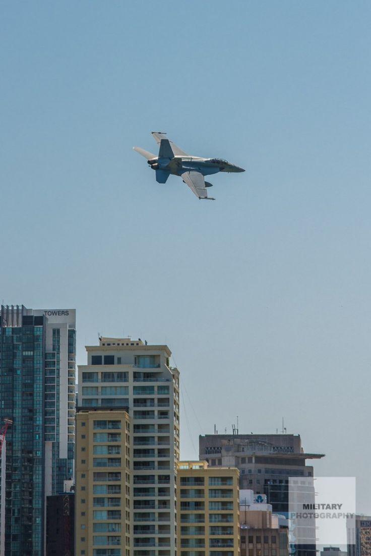 Australian RAAF F/A-18F Super Hornet over the Brisbane River
