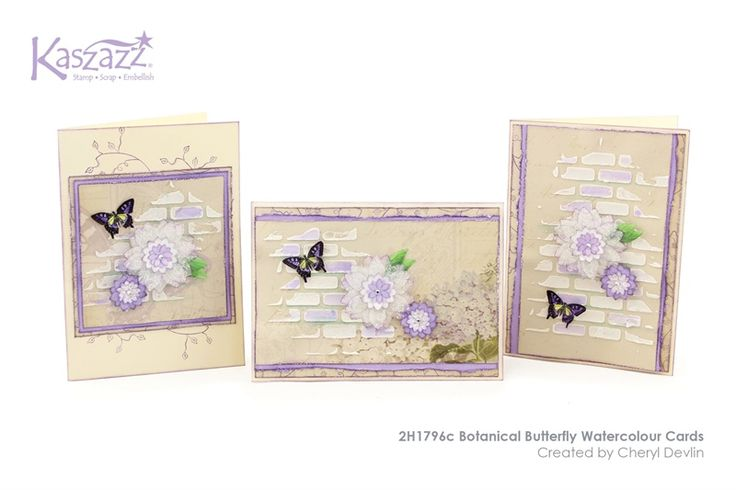 2H1796c Botanical Butterfly Watercolour Cards